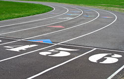 Starting line on sports track Royalty Free Stock Images