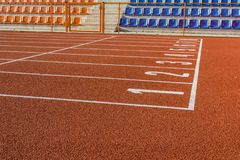 Starting lines on an all-weather track. Royalty Free Stock Photos