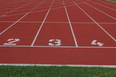 Starting lines of running track. Three lines of running track in stadium Royalty Free Stock Image