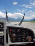 Starting. With a litle airplane in alpnach swiss Royalty Free Stock Photo