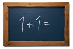 Starting maths on chalkboard Stock Photo