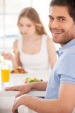 Starting morning from healthy breakfast. Stock Images