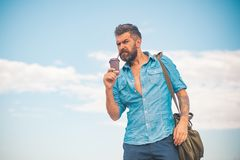 Starting new day. full of energy. mature hipster drink coffee. Good morning coffee. male with beard. brutal bearded man. With take away coffee. Enjoying Sunday royalty free stock photography