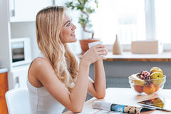 Starting new day with smile. Stock Photos