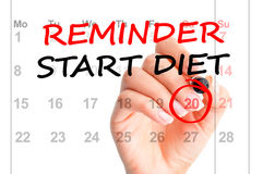 Starting a new diet reminder on a calendar Stock Photography