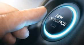Starting a New Experience or Business. Finger about to press a push button with the message new experience start. Leaving comfort zone and starting new life stock images