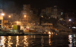 Starting Night Puja in Varanasi. Ghats at the holy river of Ganga in Varanasi, Uttar Pradesh, India Royalty Free Stock Photos