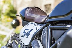 Starting number of custom made scrambler style cafe racer royalty free stock photography