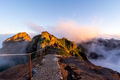 Starting pathway to Pico Ruivo peak at golden hour, Madeira, Portugal. stock image
