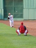 Starting pitcher Jon Lester warms up Stock Photos