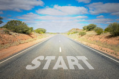 Starting Point. Conceptual Image with the Word Start on a Desert Road to Horizon Royalty Free Stock Photo
