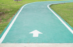 Starting point. On a green way in the park royalty free stock photography