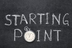 Starting point watch. Starting point phrase handwritten on chalkboard with vintage precise stopwatch used instead of O royalty free stock image