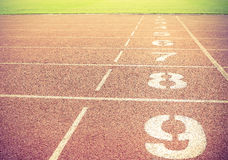 Starting point with running track lane Numbers Royalty Free Stock Photos