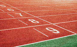 Starting point with running track lane Numbers Stock Photography