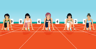 Starting points. The competition runs with runners on the starting line Royalty Free Stock Photos