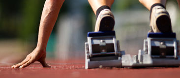 Starting position in the starting block Stock Image