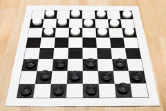 Starting position on vinyl draughts board Stock Images