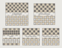 Starting positions in draughts game vector illustration Royalty Free Stock Photo