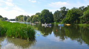 Starting positions for St Neots Regatta on the River Ouse. St Neots, Cambridgeshire, England - July 23, 2016: Starting positions for St Neots Regatta on the stock images