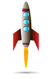 Starting red rocket. Starting rocket ship on white background Royalty Free Stock Photography