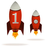 Starting Red Rockets. Vector. Stylized  illustration of a starting retro rocket ship Stock Photos