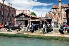 Starting renovation of gondola in Venice Royalty Free Stock Image