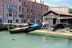 Starting renovation of gondola in Venice Royalty Free Stock Photo