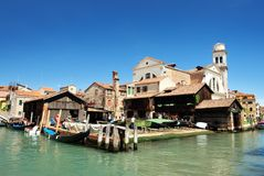 Starting renovation of gondola in Venice Royalty Free Stock Photos
