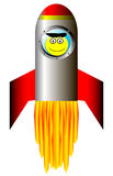Starting rocket with happy astronaut. Starting rocket ship with happy astronaut on white background Royalty Free Stock Photos