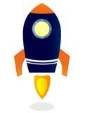 Starting Rocket ship. Vector illustrations. Blue Rocket ship. Vector cartoon Illustration Stock Image