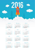 Starting rocket vector 2016 year calendar template. Starting rocket vector 2016 year vector calendar template Royalty Free Stock Image