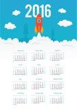 Starting rocket vector 2016 year calendar template Royalty Free Stock Image