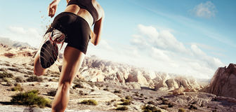Starting runner. Sports background. Starting runner in desert stock photo