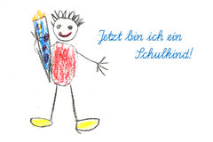 Starting school with child's drawing and german text Jetzt bin i Royalty Free Stock Image