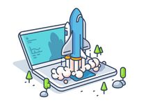 Starting startup with laptop. New business start rocket. Vector illustration Stock Photos