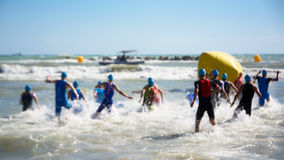 Starting for the swimming test of the athletes of triathlon. Blurred royalty free stock photos