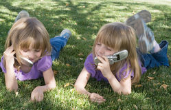 Starting Young With Technology. It's never too late to develop good cell phone skills Royalty Free Stock Photography