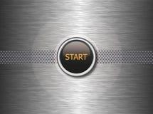 Startknopf auf Metallhintergrund Stockbild