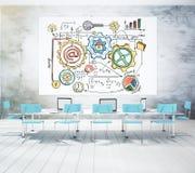 Startkonzept gezeichnet auf ein weißes Brett in einem Konferenzsaal Stockbilder