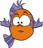 Startled fish. An illustrated orange fish on a white background Stock Image