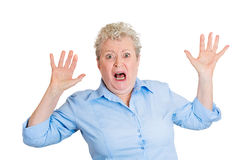Startled old lady Royalty Free Stock Image