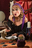 Startled Tarot Card Reader Royalty Free Stock Photos