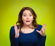 Startled woman, looking shocked, surprised Royalty Free Stock Photography
