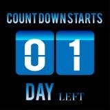 Startnumret för räkningen av dagen lämnade ner 1 design för dagklistermärkebaner för någon funktion Arkivfoton