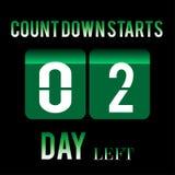 Startnumret för räkningen av dagen lämnade ner designen för det 2 dag klistermärkebanret för någon funktion Arkivbild