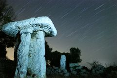 StarTrail at Ancient Ruins stock photo