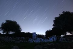 Startrail aux ruines antiques III photo stock