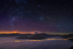 Startrail bromo mountain Stock Photography