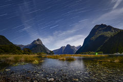 Startrail at Milford Sound. Is taken at new zealand Stock Photos